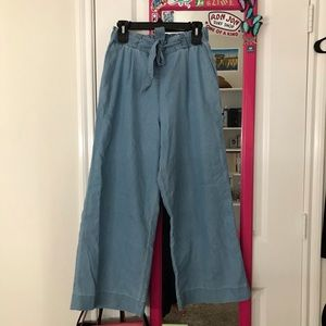 H&M Paper Bag Faux Denim Wide Leg Pant